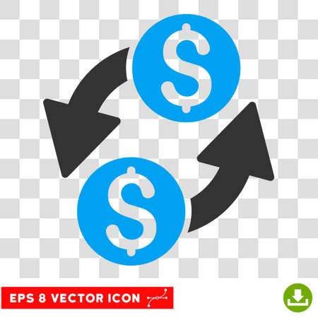bank activities: Dollar Exchange vector icon. Image style is a flat blue and gray pictogram symbol.