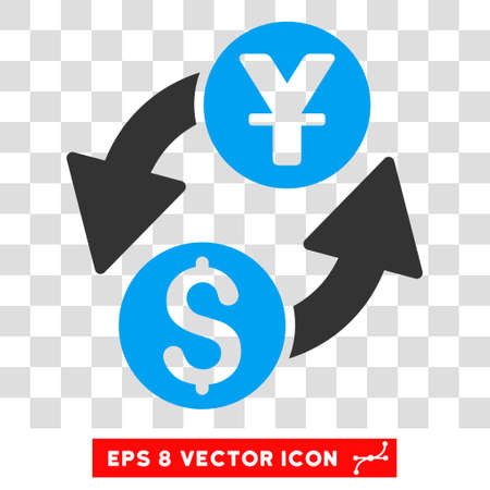 yuan: Dollar Yuan Exchange vector icon. Image style is a flat blue and gray icon symbol.