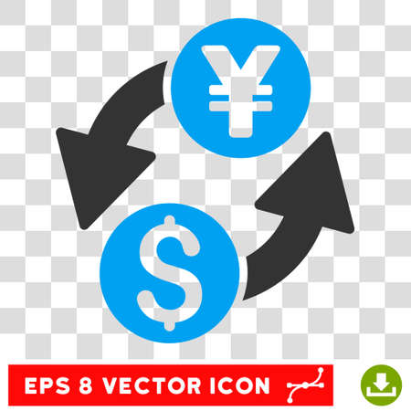 Dollar Yen Exchange vector icon. Image style is a flat blue and gray pictograph symbol.