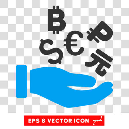 International Investment vector icon. Image style is a flat blue and gray pictogram symbol. Illustration