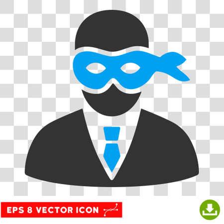 Masked Thief vector icon. Image style is a flat blue and gray icon symbol.