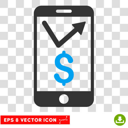 sales report: Mobile Sales Report vector icon. Image style is a flat blue and gray icon symbol.