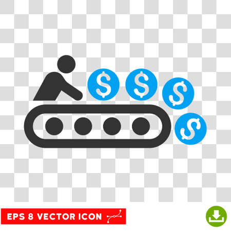 Money Production vector icon. Image style is a flat blue and gray icon symbol. Illustration
