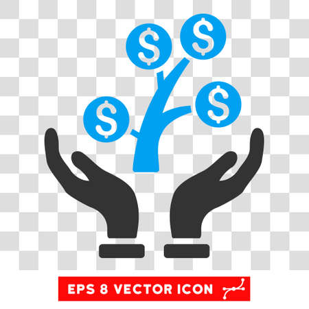 Money Tree Care Hands vector icon. Image style is a flat blue and gray iconic symbol.