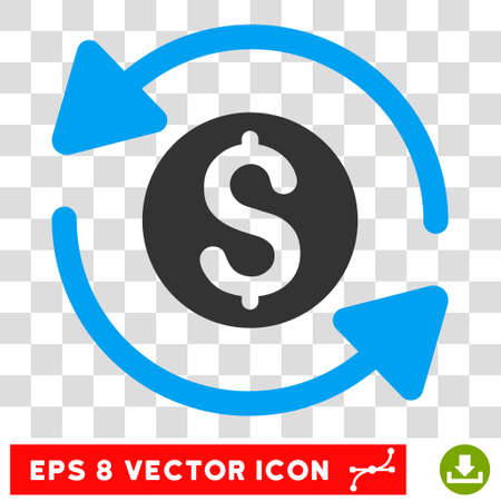 utilization: Money Turnover vector icon. Image style is a flat blue and gray pictogram symbol. Illustration