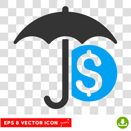 Money Umbrella Protection vector icon. Image style is a flat blue and gray pictogram symbol. Illustration