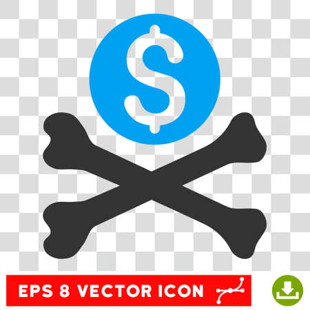 mortal: Mortal Debt vector icon. Image style is a flat blue and gray pictogram symbol.
