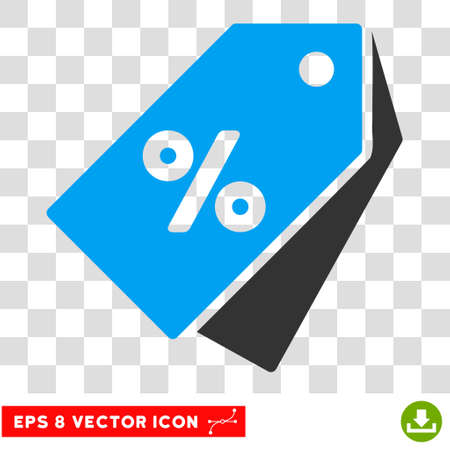 allowed to pass: Percent Discount Tags vector icon. Image style is a flat blue and gray icon symbol.