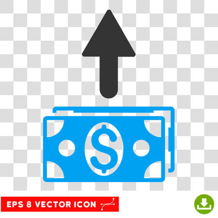 banknotes: Send Banknotes vector icon. Image style is a flat blue and gray iconic symbol.