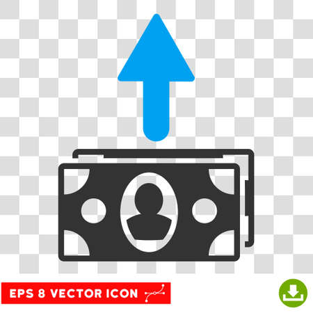 spend: Spend Banknotes vector icon. Image style is a flat blue and gray pictogram symbol.