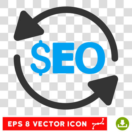 synchronize: Update Seo vector icon. Image style is a flat blue and gray pictograph symbol.