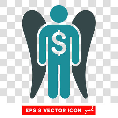 investor: Angel Investor vector icon. Image style is a flat soft blue iconic symbol. Illustration