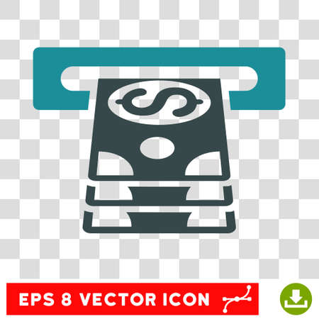 automatic transaction machine: Bank Cashpoint vector icon. Image style is a flat soft blue pictogram symbol. Vectores