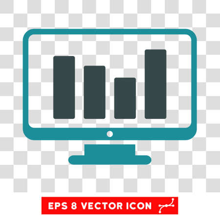pc icon: Bar Chart Monitoring vector icon. Image style is a flat soft blue icon symbol. Illustration