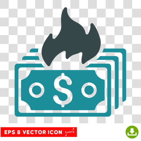 banknotes: Burn Banknotes vector icon. Image style is a flat soft blue icon symbol.