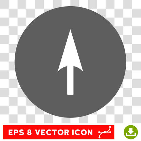 ordinate: Arrow Axis Y round icon. Vector EPS illustration style is flat iconic bicolor symbol, white and silver colors, transparent background. Illustration