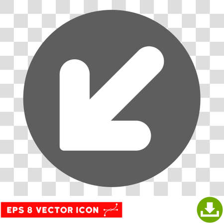 inclination: Arrow Down Left round icon. Vector EPS illustration style is flat iconic bicolor symbol, white and silver colors, transparent background.