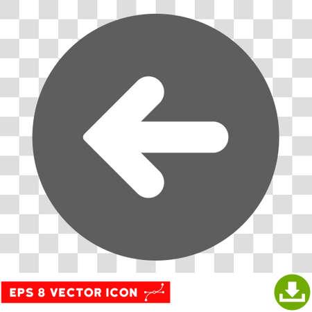 Freccia sinistra icona rotonda. Illustrazione vettoriale EPS è il simbolo bicolore iconico piatto, colori bianco e argento, sfondo trasparente.