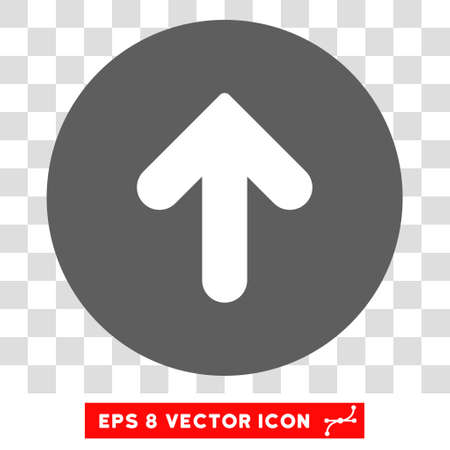 upward movements: Arrow Up round icon. Vector EPS illustration style is flat iconic bicolor symbol, white and silver colors, transparent background.