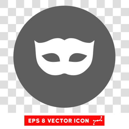 moods: Privacy Mask round icon. Vector EPS illustration style is flat iconic bicolor symbol, white and silver colors, transparent background. Illustration