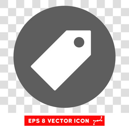 operand: Tag round icon. Vector EPS illustration style is flat iconic bicolor symbol, white and silver colors, transparent background.