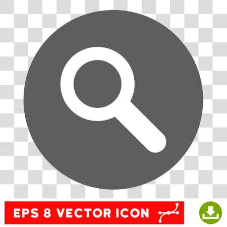 Szukaj ikonę okrągłe. Ilustracji wektorowych w stylu EPS jest płaski iconic bicolor symbol, białe i srebrne kolory, przezroczyste tło.
