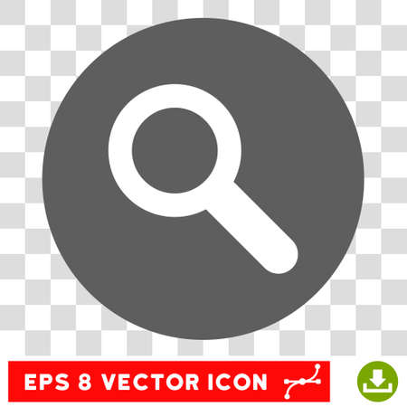 Search round icon. Vector EPS illustration style is flat iconic bicolor symbol, white and silver colors, transparent background.