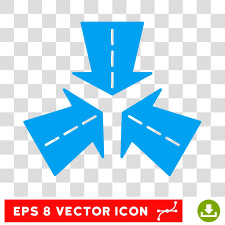 Merge Directions round icon. Vector EPS illustration style is flat iconic symbol, blue color, transparent background. Illustration