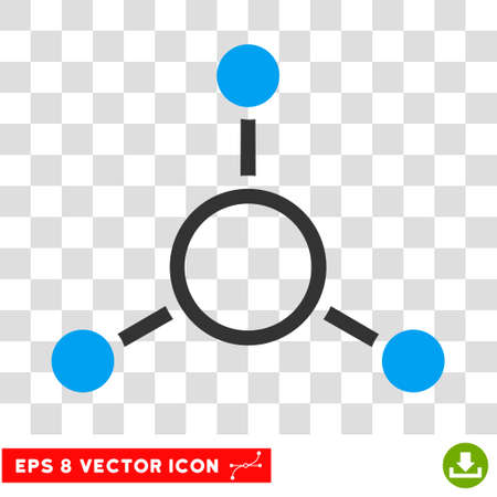 quark: Radial Structure round icon. Vector EPS illustration style is flat iconic bicolor symbol, blue and gray colors, transparent background.
