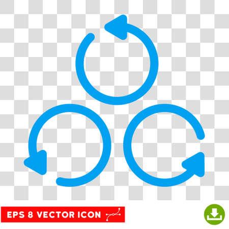 Rotation round icon. Vector EPS illustration style is flat iconic symbol, blue color, transparent background. Illustration