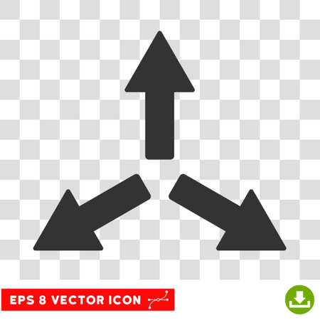 bifurcation: Expand Arrows round icon. Vector EPS illustration style is flat iconic symbol, gray color, transparent background.