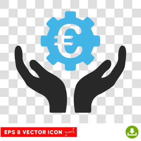 Vector Euro Maintenance EPS vector pictograph. Illustration style is flat iconic bicolor blue and gray symbol on a transparent background.