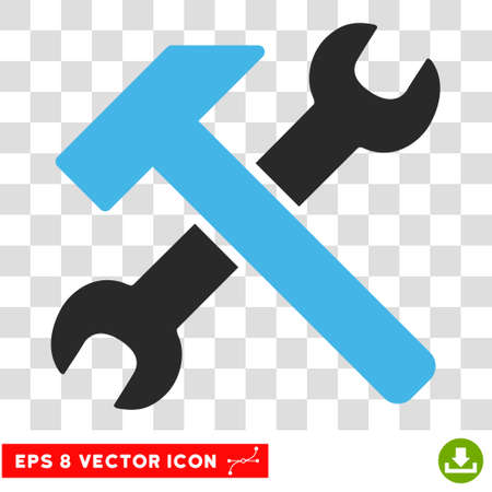 instrumentation: Vector Hammer and Wrench EPS vector pictogram. Illustration style is flat iconic bicolor blue and gray symbol on a transparent background.
