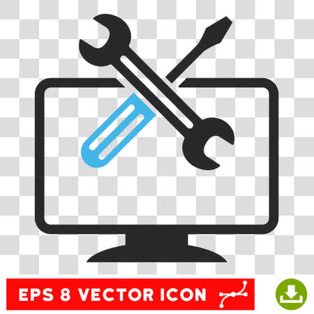 config: Vector Computer Tools EPS vector icon. Illustration style is flat iconic bicolor blue and gray symbol on a transparent background. Illustration