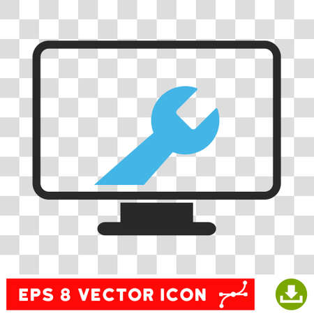pc tune: Vector Desktop Options EPS vector pictograph. Illustration style is flat iconic bicolor blue and gray symbol on a transparent background. Illustration