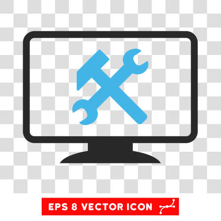 pc tune: Vector Desktop Settings EPS vector pictograph. Illustration style is flat iconic bicolor blue and gray symbol on a transparent background.
