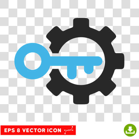 tool unlock: Vector Key Options EPS vector pictograph. Illustration style is flat iconic bicolor blue and gray symbol on a transparent background. Illustration