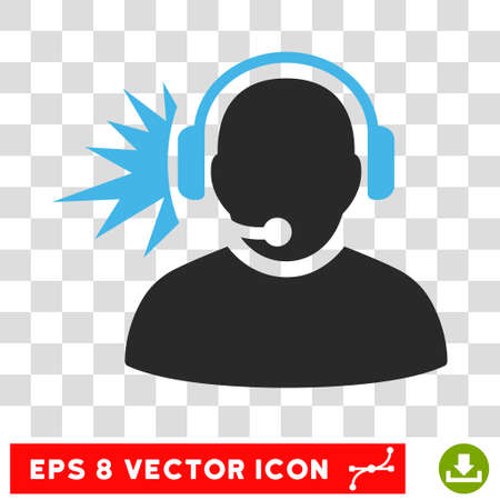 headset voice: Vector Operator Signal EPS vector icon. Illustration style is flat iconic bicolor blue and gray symbol on a transparent background.