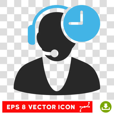 Vector Operator Time EPS vector pictograph. Illustration style is flat iconic bicolor blue and gray symbol on a transparent background.