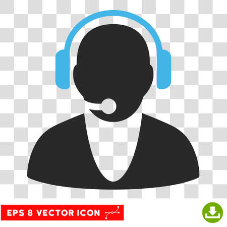 Vector Operator EPS vector pictogram. Illustration style is flat iconic bicolor blue and gray symbol on a transparent background. Illustration