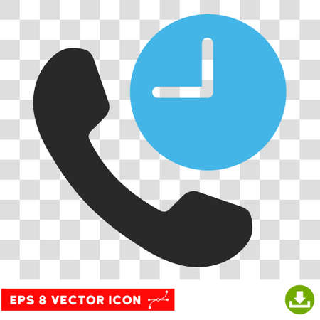 phone time: Vector Phone Time EPS vector pictogram. Illustration style is flat iconic bicolor blue and gray symbol on a transparent background.
