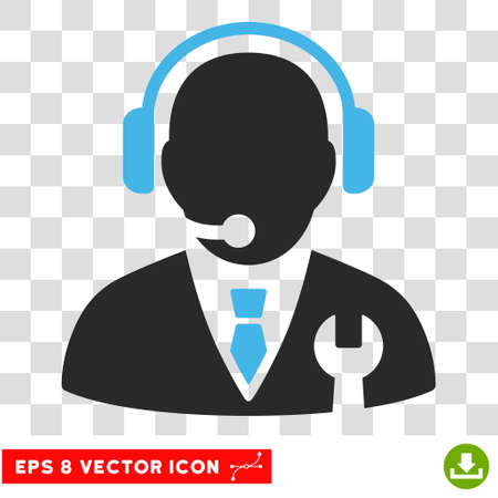 Vector Service Manager EPS vector pictogram. Illustration style is flat iconic bicolor blue and gray symbol on a transparent background. Illustration
