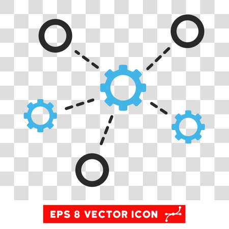 distribute: Vector Service Relations EPS vector pictograph. Illustration style is flat iconic bicolor blue and gray symbol on a transparent background.