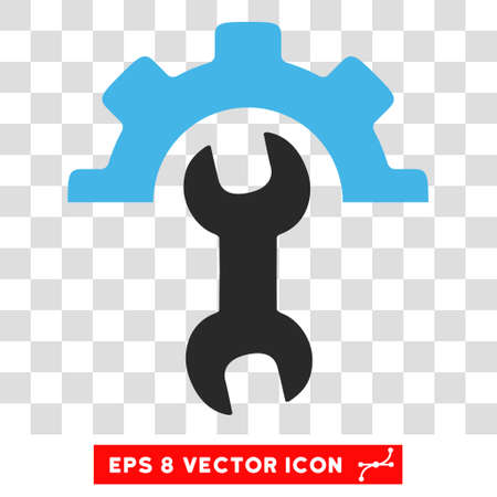 power wrench: Vector Service Tools EPS vector pictograph. Illustration style is flat iconic bicolor blue and gray symbol on a transparent background. Illustration