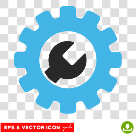 power wrench: Vector Service Tools EPS vector icon. Illustration style is flat iconic bicolor blue and gray symbol on a transparent background.