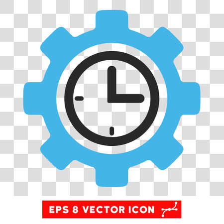 schedule system: Vector Time Setup EPS vector pictograph. Illustration style is flat iconic bicolor blue and gray symbol on a transparent background.