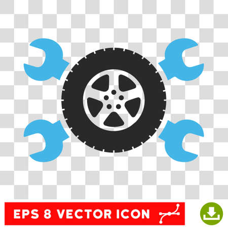 hardware configuration: Vector Tire Service EPS vector icon. Illustration style is flat iconic bicolor blue and gray symbol on a transparent background.