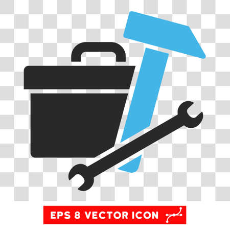 bag icon: Vector Toolbox EPS vector icon. Illustration style is flat iconic bicolor blue and gray symbol on a transparent background.