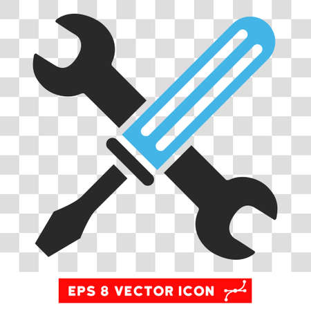 configure: Vector Tools EPS vector pictograph. Illustration style is flat iconic bicolor blue and gray symbol on a transparent background.