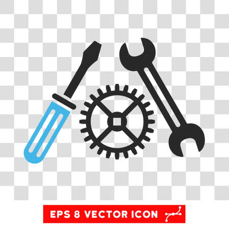 Vector Tuning Service EPS vector pictograph. Illustration style is flat iconic bicolor blue and gray symbol on a transparent background.